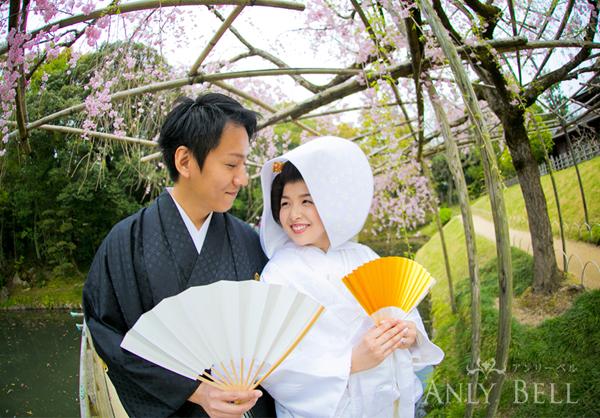 岡山後楽園和装前撮り桜ロケーションフォトウェディング